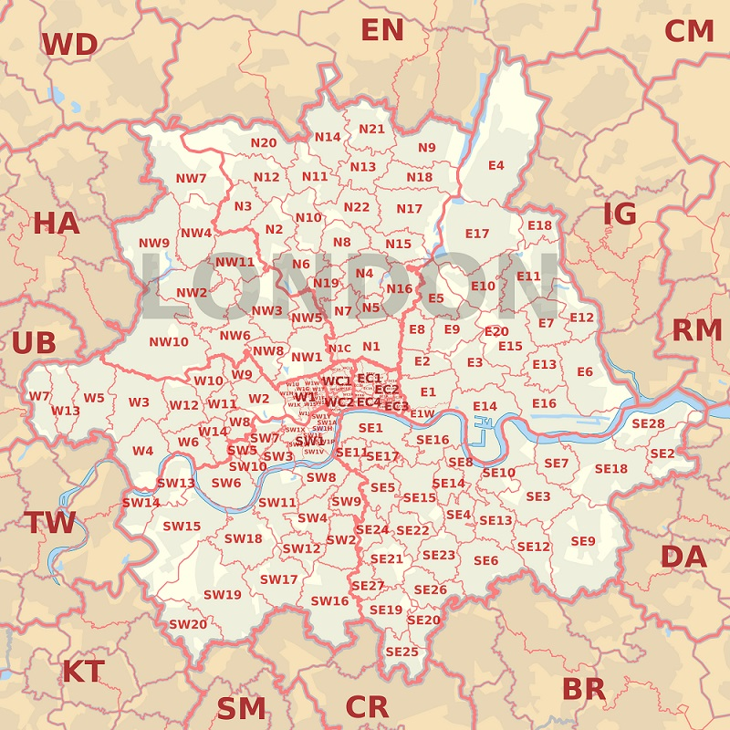 Map of London postcodes